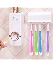 Asign Plastic Automatic Hands Free Toothpaste Dispenser Squeezer Wall Mounted, Hanging with 5 Hole Brush Holder Set of 2
