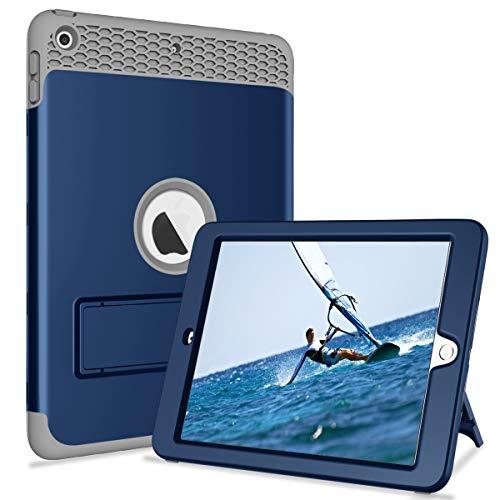 Schutzhülle für iPad 9.7 2017/2018 mit Standfunktion, 3-in-1, strapazierfähig, stoßfest, Hybrid-Gummi, Schutzhülle für iPad 5. / 6. Generation Modell A1822/A1823/A1893/A1954 blau/grau 3. Generation Gummi