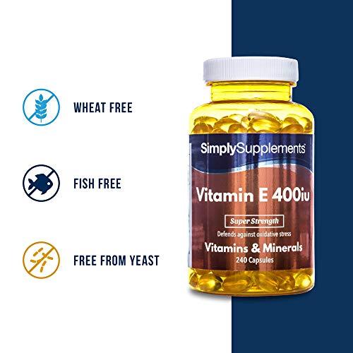 Vitamin E 400iu – 240 Kapseln – Versorgung für bis zu 8 Monaten – vermeidet oxidativen Stress – Simply Supplements