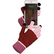 Fosmon Unisex Winter Gloves with Three Conductive Fingertips for All Touch Screen Devices - Red/Pink