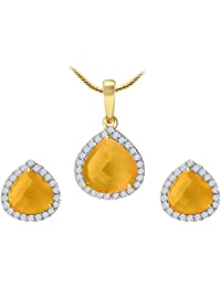 Spargz Royal Fashion Design Gold Plated Yellow Diamond Contemporary Pendant Set For Women