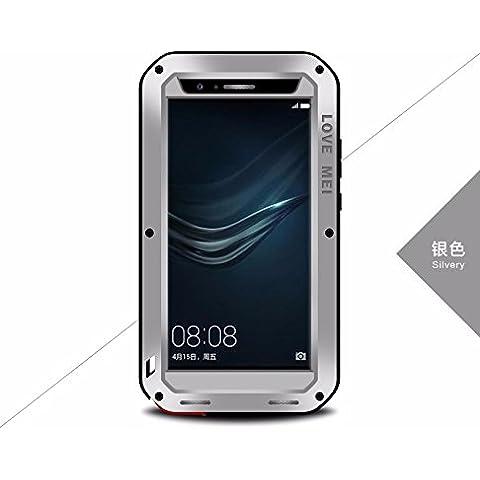 Huawei P9Plus custodia, Love Mei antiurto impermeabile polvere/sporcizia/Neve Prova in alluminio Gorilla vetro cover per Huawei P9Plus