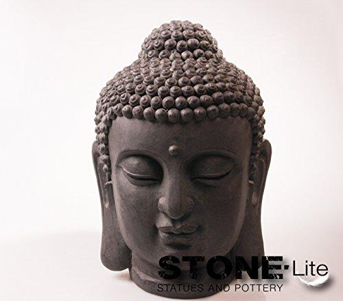 Imhof Stevens XXL Buddha Skulptur Gartendeko Kopf steingrau, Höhe 46 cm