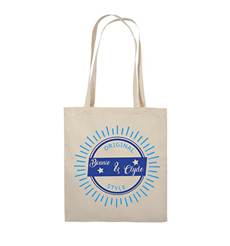 Comedy Bags - Original Bonnie & Clyde style - MOTIV SHINE - Jutebeutel - lange Henkel - 38x42cm - Farbe: Schwarz / Weiss-Pink Natural / Royalblau-Hellblau