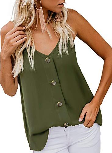 Durio Top Damen Tank Top Sexy Spaghetti Top Ärmellos Shirt V-Ausschnitt Bluse Sommertop Grün EU 40 (Herstellergröße M) -