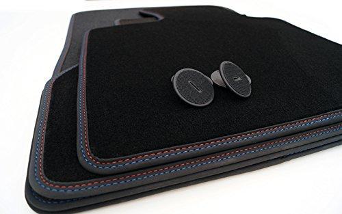 Fußmatten E70 Velours M Edition Doppelnaht Rot / Blau Premium Automatten 4-teilig