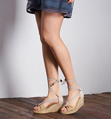 VISCATA Tossa Espadrilles Femme talon de 6,5 cm compense elegant Fabrique en Espagne Beige
