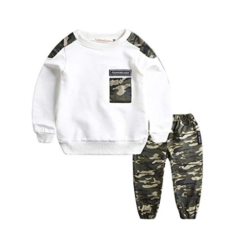 DIASTR Baby Junge Kleidung Outfit Teen Kids Letter Tracksuit Camouflage Tops Pants 2pcs Outfits Set Grün, Schwarz, Weiß (6m-5y) -