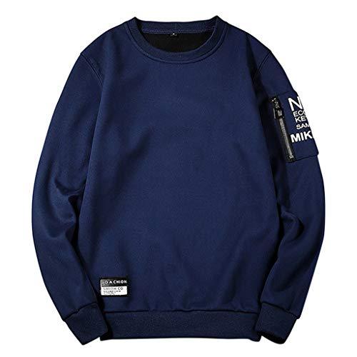 Xmiral Herren Sweatshirt Rundkragen Pullover Lange Ärmel Einfarbig Buchstabe Drucken T-Shirt Herbst Beiläufig Patchwork Slim Fit Bluse Tops(b Blau,M)