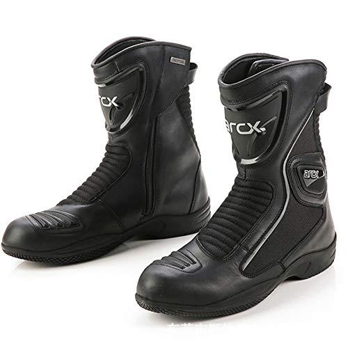 AIFXZ Stivali da Moto Scarpe da Moto Stilista da Corsa per Motociclisti Stivaletti Corti Pista per Moto Scarpe da Turismo Impermeabili per Uomo Ragazzi Cavaliere,Black-41