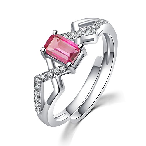 COLORFEY Silber Ringe Natur Stein Rosa Tourmaline Tolle Geschenk für Valentine Jahrestag Geburtstag (Rosa Edelstein Ring)