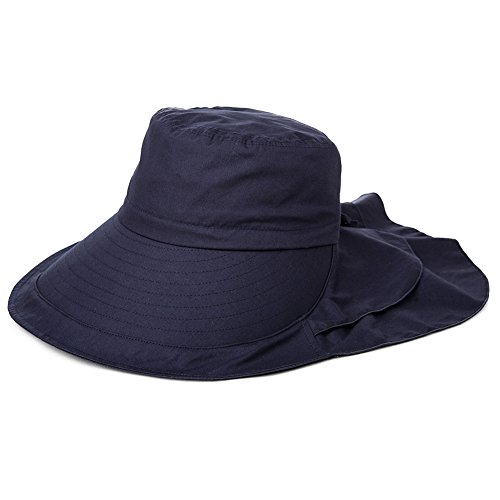 Siggi Femme Capeline Pliable Chapeau de Soleil Réglable Coton Large Bord Visière Eté Plage Voyage UPF UV 69085_Bleu Marine