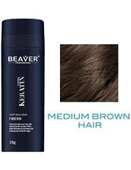 Fibres capillaires BEAVER - Epaissit les cheveux instantanément grace aux fibres de kératine naturelles - Marron moyen - 28 g