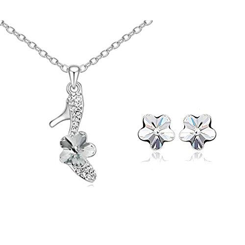Zizi Crystal Flower shoe set collana e orecchini acquamarina ~ ~ ~ abbagliante bianco organza Gift bag ~ Fast consegna gratuita Dazzling White