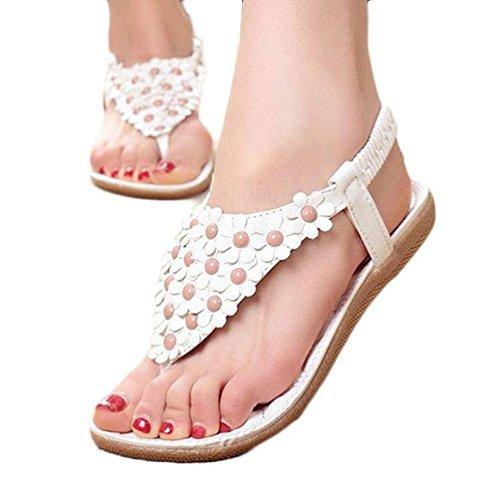 Elecenty Damen Sandalen Schuhe Böhmen Schuh Sommerschuhe Bequeme Frauen Zehentrenner Sandaletten T-Strap Flats Keilabsatz Solide Offene Sandalen Weich Flache Peep-Toe Badeschuhe (37, Weiß) (Leder-heels Asymmetrische)