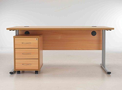 Cheapest BIMI Beech Rectangular Desk with 3 Draw Mobile Pedestal – Desk 1600 x 800 Online