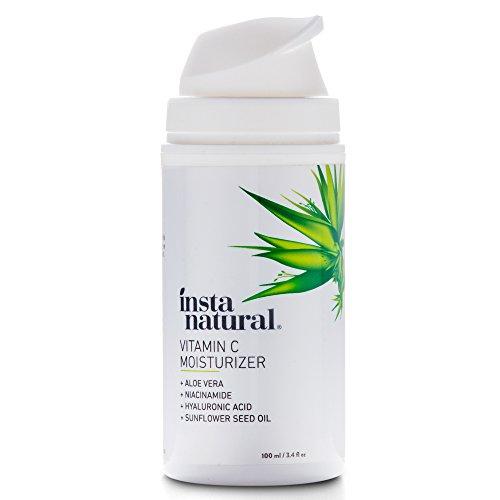 InstaNatural Vitamin C - Feuchtigkeitscreme - Anti-Aging Gesicht & Faltenreduzierungs-Lotion für Sie & Ihn - mit Hyaluronsäure & Bio-Jojobaöl - für trockene, empfindliche & fettige Haut - 100 ml