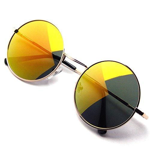 John Lennon inspiriert Sonnenbrille Runde Hippie Schattierungen Retro Farbige Linsen (Orange-Eis)