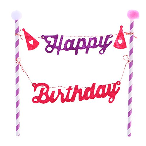 YeahiBaby Kreative Geburtstag Kuchendeckel, personalisierte Kuchen Banner für Kinder, alles Gute zum Geburtstag Kuchen Dekorationen, Geburtstagstorte Topper (Rosa)
