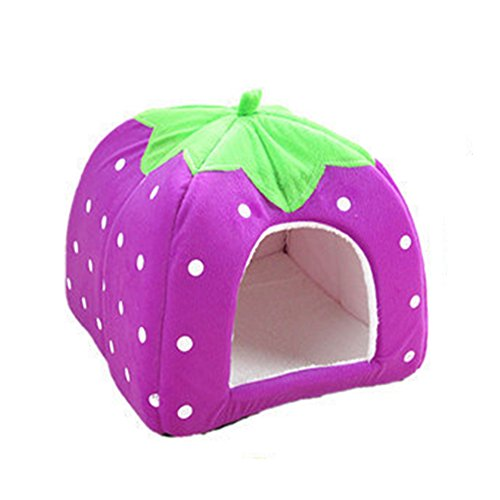 Super Lovely Strawberry Soft Cashmere Warm Pet Nest Dog Cat Bed Foldable Washable for Small Medium Pets Purple