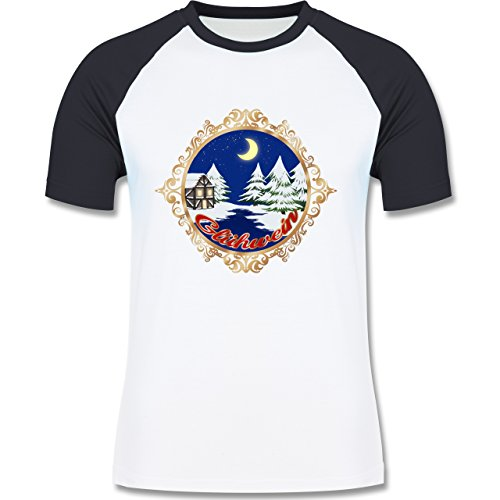 Weihnachten & Silvester - Glühwein Lable - zweifarbiges Baseballshirt für Männer Weiß/Navy Blau