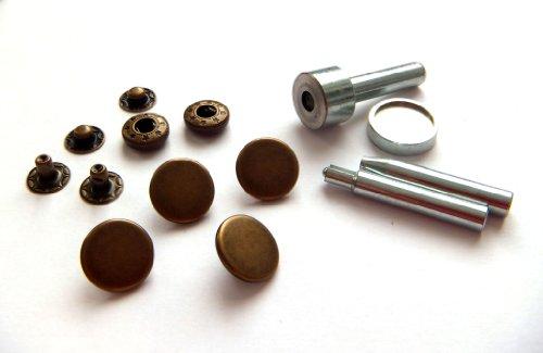 10 Stück Anorak Druckknöpfe mit Werkzeug (Altmessing / 15 mm)