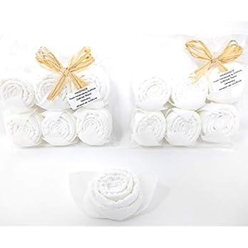 Servietten Rosen in weiß, 12 er Set. Festliche Tischdeko zu Weihnachten, Hochzeit, Taufe, Kommunion, Geburtstag als…