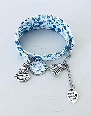 Bracelet Liberty, Bracelet à parfumer en tissu Liberty fleuri bleu, bracelet bouddhiste, bracelet bleu, bijou Liberty, bracelet fleur, cadeau maitresse nounou