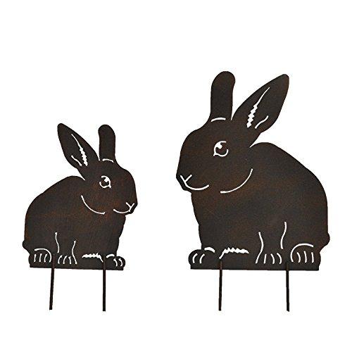 La Grande Prairie Die große Meadow Set Silhouetten Kaninchen aus Eisen 16x 28cm/25x 43cm -