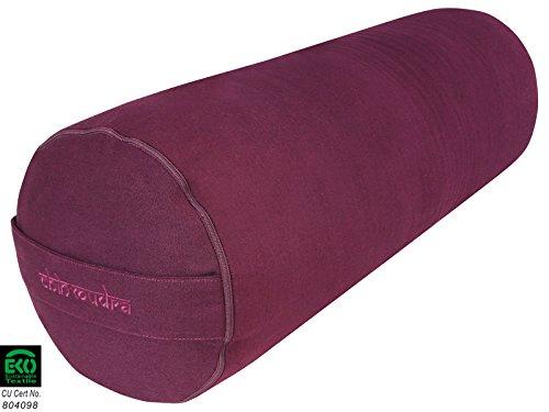 Bolster de yoga 100 % Coton Bio 65 cm x 23 cm - Prune