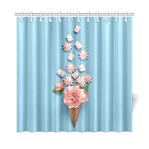 QuqUshop Wohnkultur Bad Vorhang Eistüte Bonbons Süßigkeiten Marshmallow Polyester Stoff Wasserdicht Duschvorhang Für Badezimmer, 72X72 Zoll Duschvorhänge Haken Enthalten