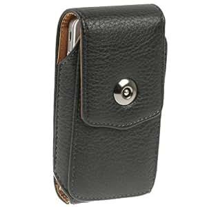 Vertikale Gürteltasche für Apple iPhone 5 und iPhone SE aus Leder in schwarz mit Magnetverschluss und Gürtelclip von AQ Mobile