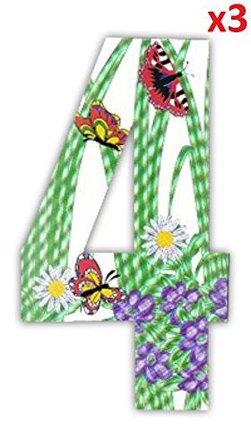 Wheelie Bin Numbers Zahlen Schmetterling Aufkleber für Hausnummern, Mülltonnen/Hauswände/Garagentore, Garbage oder Mülleimer 3x 4 (Zwerg-lilie)