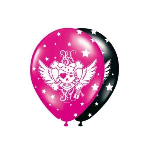n Mädchen Ballon Rosa-Schwartz 8 Stuck, schwarz ()