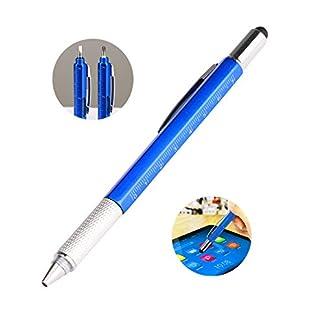 Gaocunh Multi Tools – Juego de lápices capacitivos 6 en 1 con Regla de Escala, Nivel de Burbuja, Destornillador pequeño, bolígrafo Negro