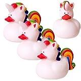 TE-Trend 4er Set Quietscheente Badeente Einhorn Ente Baby Kinder Badewanne Baden 7 cm weiß Regenbogen