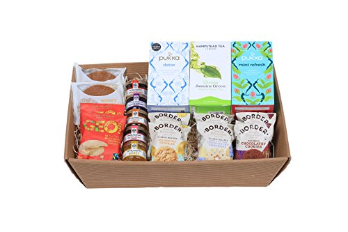 Pukka & Hampstead Herbal Organic Tea With Frank Cooper�s �Oxford� Jam / Honey Portions, Biona Honey Waffles, Geobakes Shortbread And Border Biscuits - Presented In A Hamper Tray - Gift Ideas for Christmas, Birthday, Easter, Anniversary, Wedding and Corpor