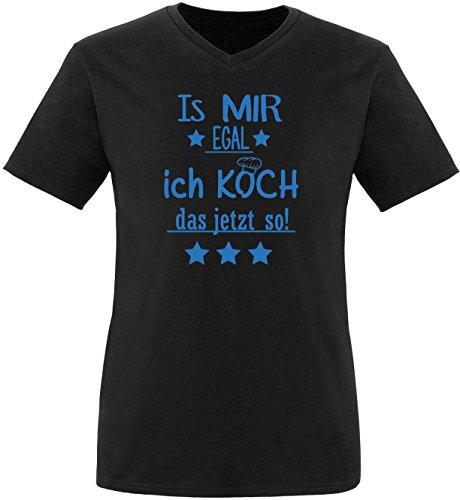 EZYshirt® Is mir Egal! Ich Koch das jetzt so Herren V-Neck T-Shirt Schwarz/Blau