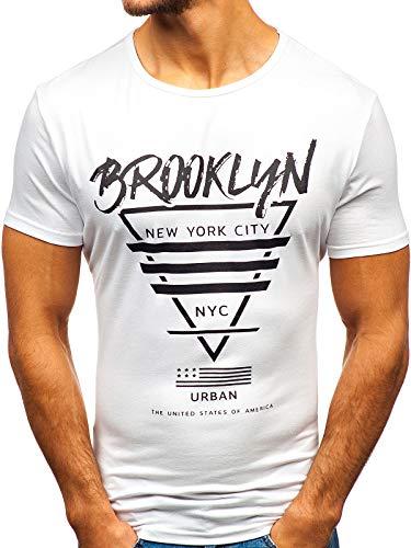 BOLF Herren T-Shirt mit Rundhalsausschnitt Print Aufdruck Täglicher Stil J.Style KY09 Weiß S [3C3] | 05902646979298