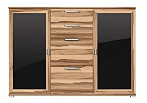 germania design kommode yes glas sideboard m bel schubladen schrank walnuss schwarz. Black Bedroom Furniture Sets. Home Design Ideas
