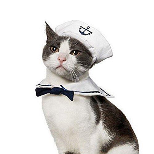 Sailor Hat Kostüm - Vevins Pet Hund Katze Cosplay Kostüm Sailor Hat Marineblau Fliege Weihnachten Halloween Kleidung