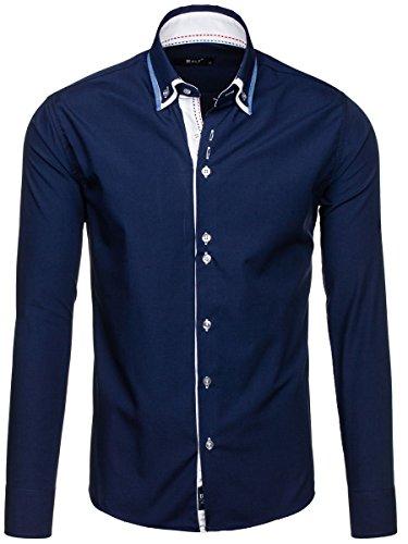 BOLF Mens chemise en casual shirt hommes Scène Slim Fit Classique 2B2 Bleu fonce
