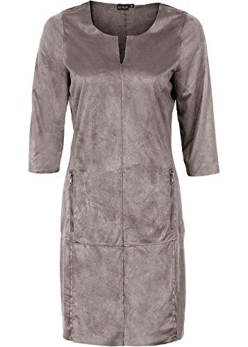 festliches Wildlederimitat-Kleid, Partykleid, Cocktailkleid, anthrazit (36)