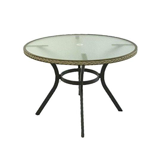 Mesa exterior aluminio, fibra sintética y sobre de cristal, 105 cm de