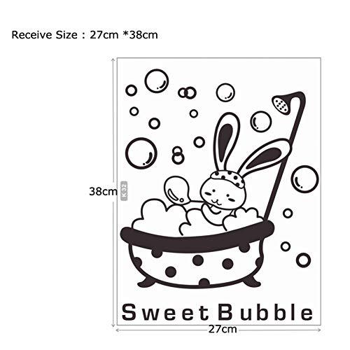 SDZF&DWE Dusche Glastür Aufkleber Tier Hase süße Blase Wandaufkleber niedlich wasserdicht Baby Badezimmer Dekor Wand Kunst Decals (Einen Jungen Baby-dusche-thema Für)