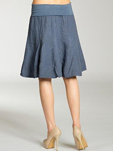 CASPAR RO014 Damen Leinenrock mit figurfreundlichem Stretch Bund Jeans Blau
