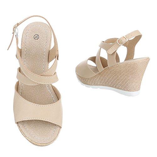 Keilsandaletten Damenschuhe Plateau Keilabsatz/ Wedge Keilabsatz Schnalle Ital-Design Sandalen / Sandaletten Beige