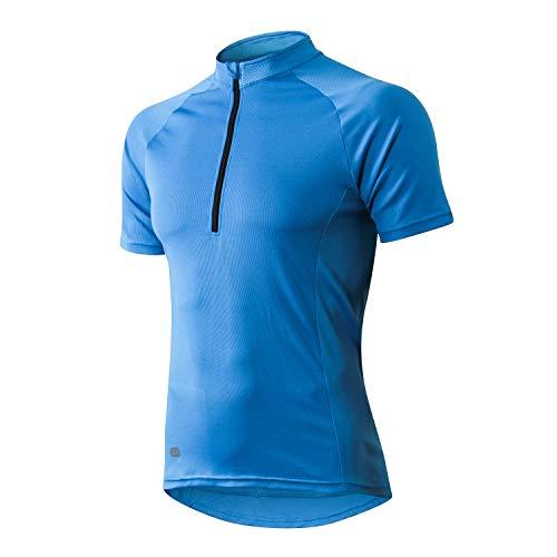 INBIKE Radtrikot Herren Damen Kurzarm Ärmellos Shirt Jersey Fahrradtrikot Aus Elastischem Atmungsaktivem Schnell Trockendem Stoff(Blau,L)