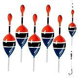 Thkfish Lot de 5 flotteurs pour pêche en Eau salée 5,1 x 14 cm, 5pcs 5g/0.17oz Color Red and Blue