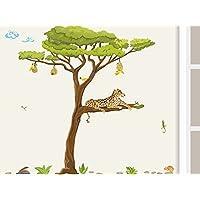 Wandtattoo Akazien Baum mit Leoparden und Webervögeln Baum Wandaufkleber für Kinderzimmer